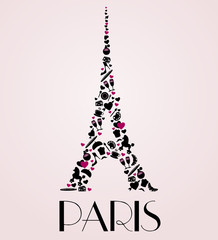 Paris - vector Eiffel Tower illustration made of icons.