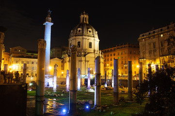 Rome by Night. Augustus Forum and Mars Ultor Temple.