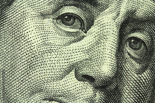 Leinwandbild Motiv one hundred dollar bill closeup