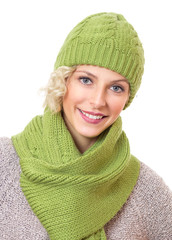 Portrait of a beauty woman wearing warm sweater