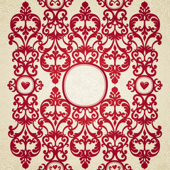 Vector seamless border with floral motifs in retro style.