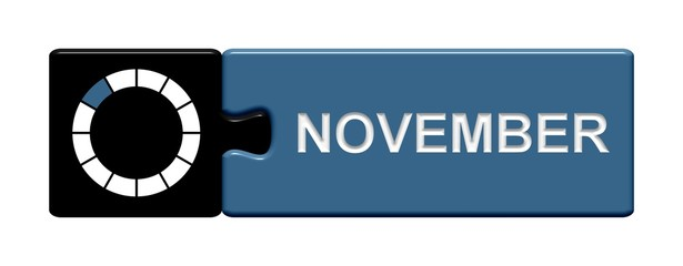 Puzzle-Button schwarz blau: November
