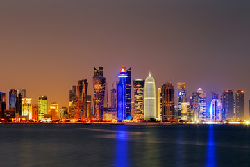 Doha, Qatar at Dusk is a beautiful city skyline