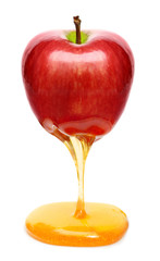Red apple with honey isolated