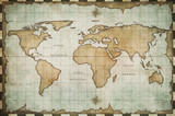 aged old world map