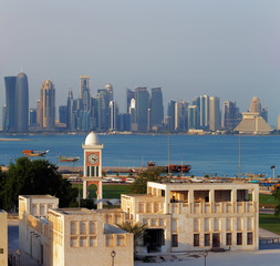 Contrasting style of architecture of Doha, Qatar