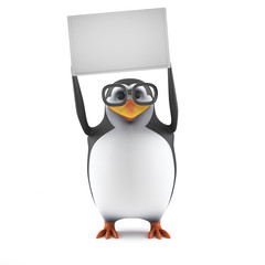 Academic penguin holds up a blank sign