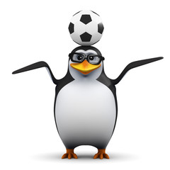 Academic penguin with a football on his head