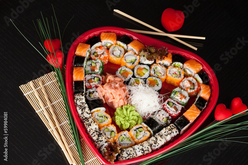 Delicious sushi. Big sushi set for few persons. - 59984081