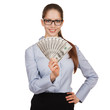 Girl in glasses with a fan of dollars