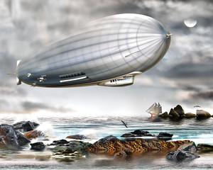 Zeppelin über dem Ozeam