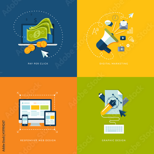 Set of flat icons for web and mobile services and apps