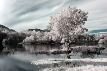 infrared river landscape