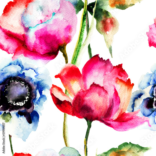 Seamless pattern with Beautiful flowers © Regina Jersova