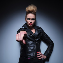angry woman accusing you by pointing finger