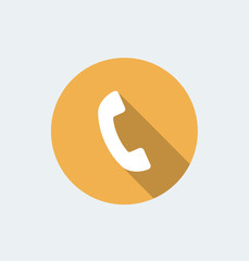 Call icon - flat design with long shadow