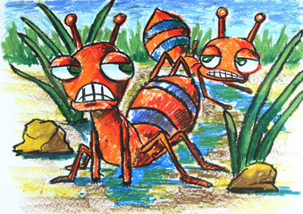 angry ants with plant
