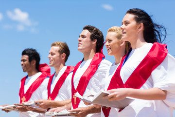 church choir singing outdoors