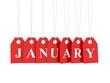 January tag on red hanging labels - isolated on white background