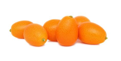 Ripe kumquats on white background