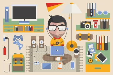 vector character and technology elements