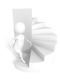 3d people character step up stairs grow twisted ladder