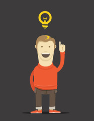 The thinking man illustration. Good idea