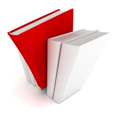 red different book out from crowd others white