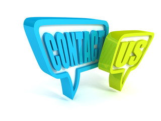 contact us green blue speech bubbles icon on white