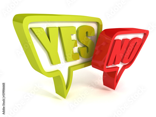Yes or No green red speech bubbles on white