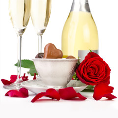 Rose petals, champagne and chocolates