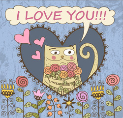 Valentine's Day Card. Cat with flowers