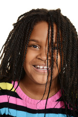 little black girl with hair over face