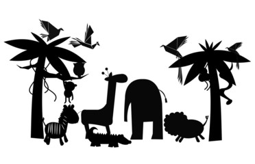 friends of the jungle in silhouette