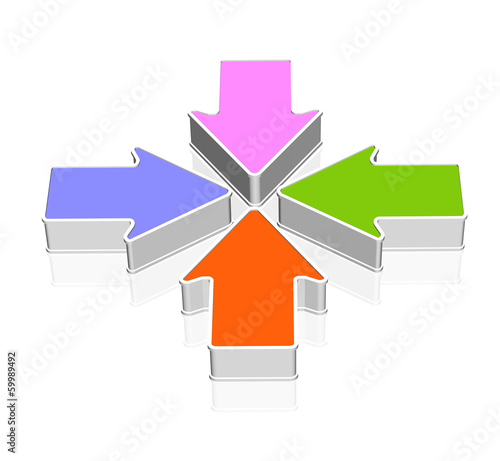Four colorful 3d arrows pointing each other