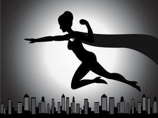 Flying Superhero Girl Silhouette