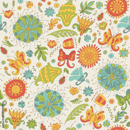 Seamless summer pattern with flowers