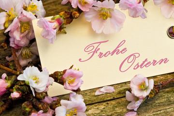 Kirschblüten auf Holz, Anhänger, Frohe Ostern