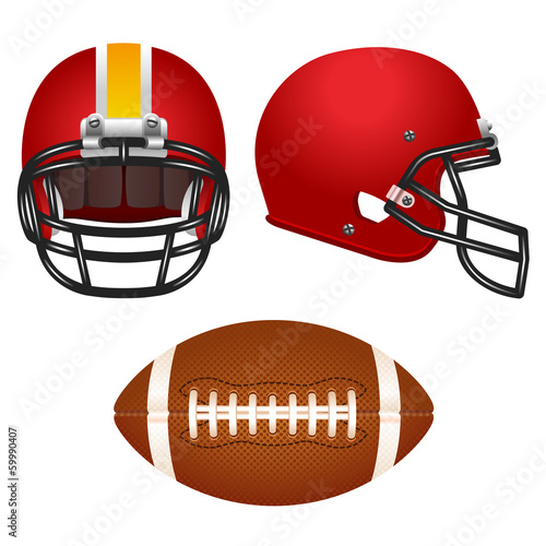 Red football helmet set