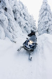 man riding on snow scooter, Orlicke Mountains, Czech Republic - 59991085