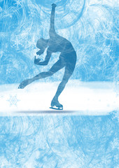 Olympic woman skater ice rink background