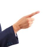 business man hand pointing isolated