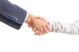 business man and woman shaking hand isolated