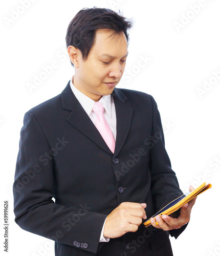 business man hand using tablet PC