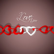 vector illustration of chain of heart on love background