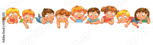 Cute little kids over a white background