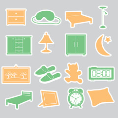 bedroom stickers set eps10