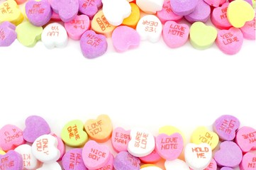 Double edge border of Valentines Day candy hearts