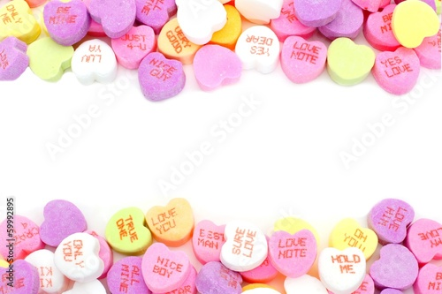 Double edge border of Valentines Day candy hearts - 59992895