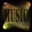 music word, old rusty wall background and spotlight